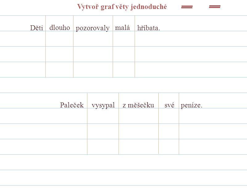 Vytvoř graf věty jednoduché Děti dlouho pozorovaly malá hříbata. Palečekvysypalz měšečkusvépeníze.