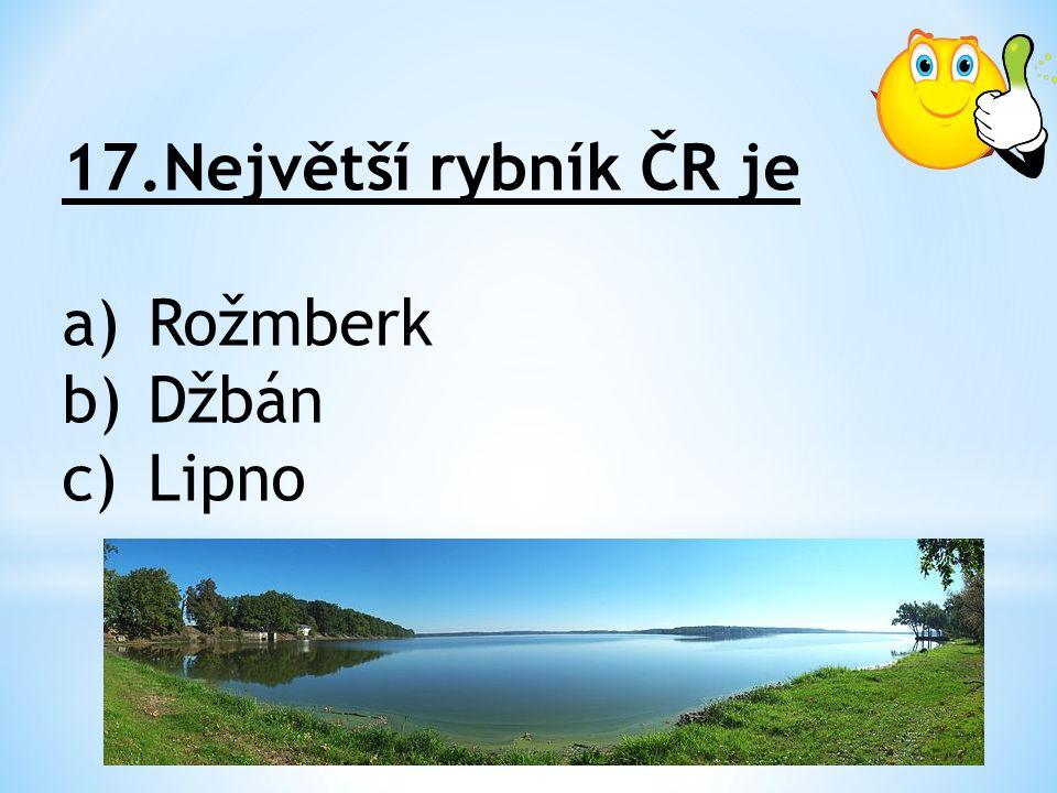 17.Největší rybník ČR je a)Rožmberk b)Džbán c)Lipno