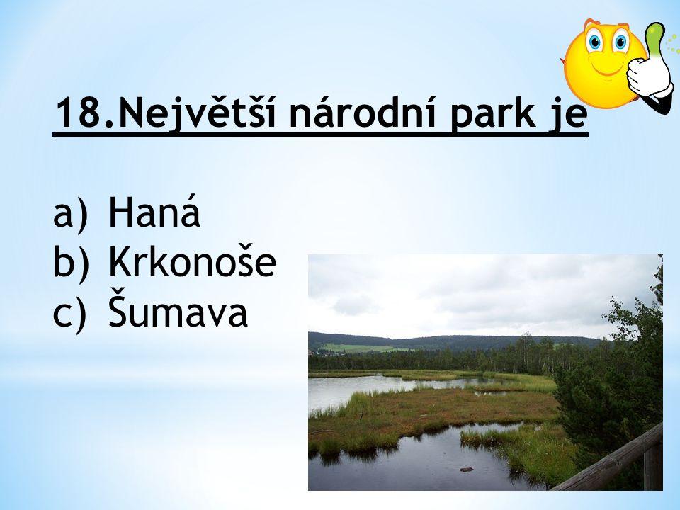 18.Největší národní park je a)Haná b)Krkonoše c)Šumava
