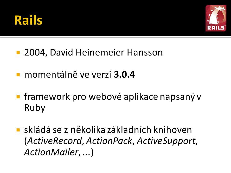  2004, David Heinemeier Hansson  momentálně ve verzi 3.0.4  framework pro webové aplikace napsaný v Ruby  skládá se z několika základních knihoven (ActiveRecord, ActionPack, ActiveSupport, ActionMailer,...)