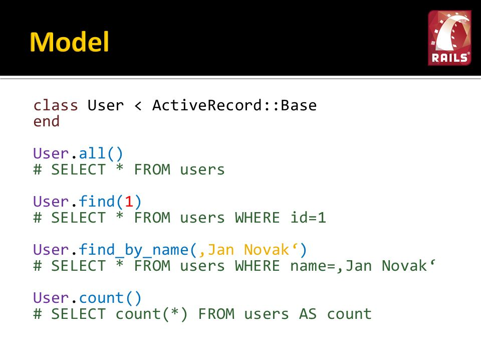 class User < ActiveRecord::Base end User.all() # SELECT * FROM users User.find(1) # SELECT * FROM users WHERE id=1 User.find_by_name('Jan Novak') # SE