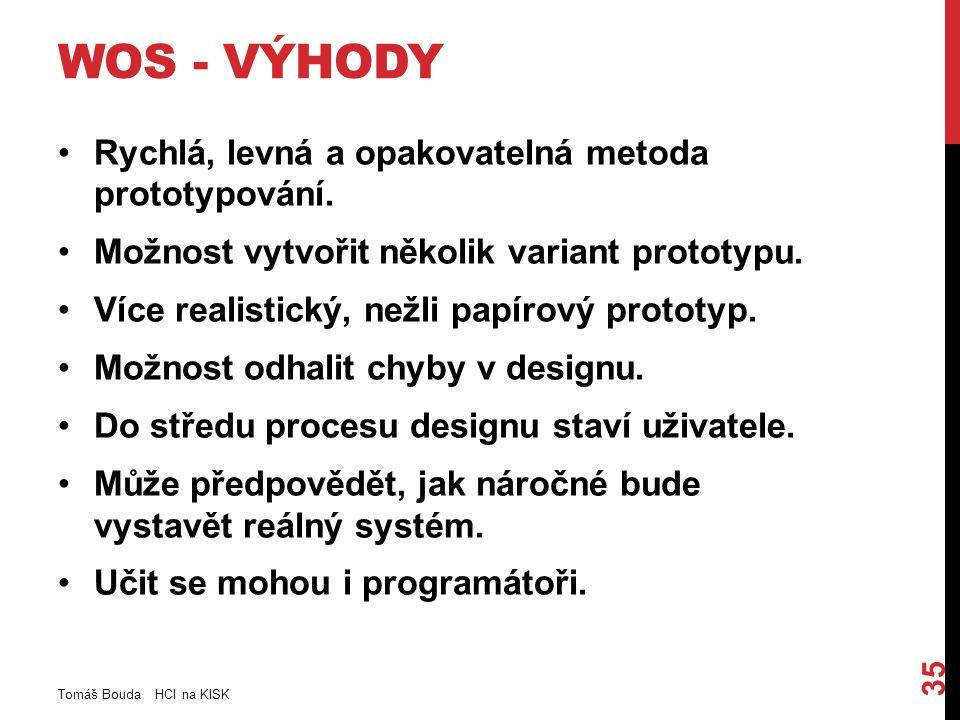 WOS - VÝHODY Rychlá, levná a opakovatelná metoda prototypování.