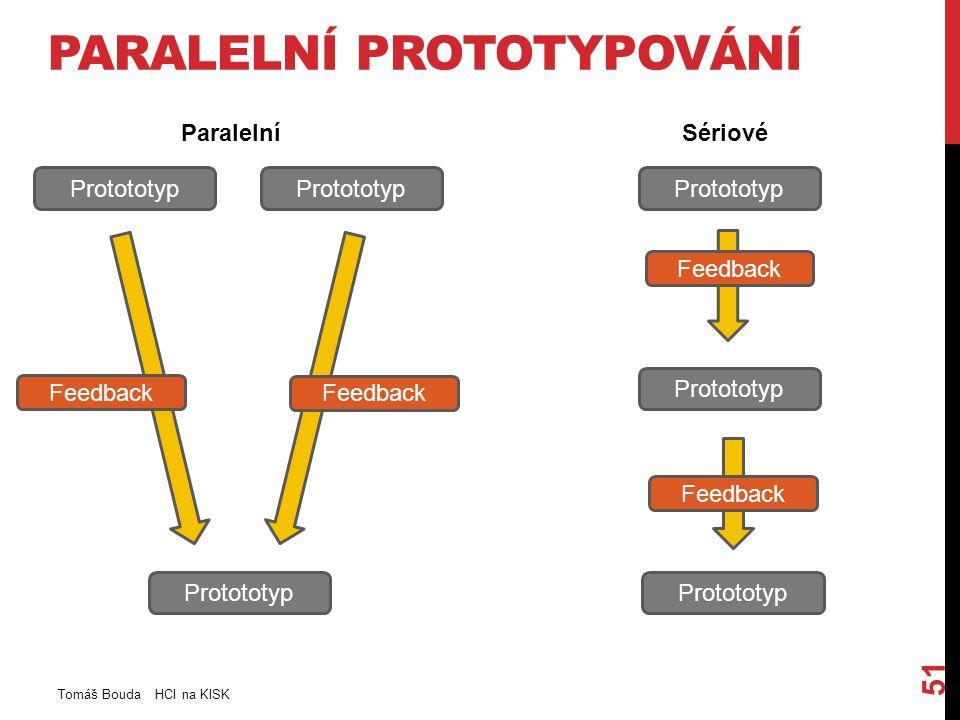 PARALELNÍ PROTOTYPOVÁNÍ Tomáš Bouda HCI na KISK 51 Protototyp Feedback ParalelníSériové