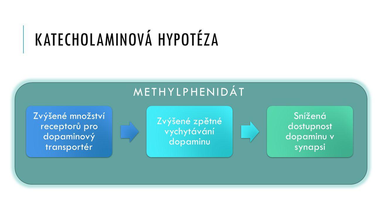KATECHOLAMINOVÁ HYPOTÉZA Zvýšené množství receptorů pro dopaminový transportér Zvýšené zpětné vychytávání dopaminu Snížená dostupnost dopaminu v synapsi METHYLPHENIDÁT