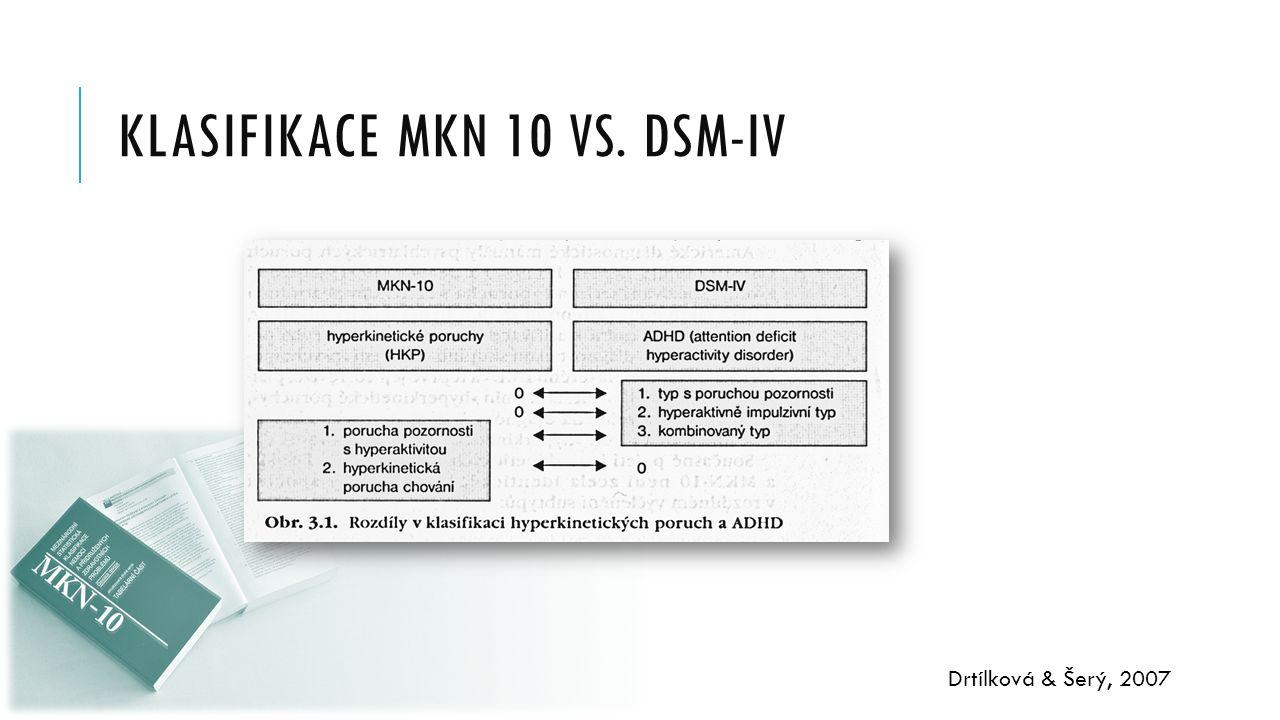 KLASIFIKACE MKN 10 VS. DSM-IV Drtílková & Šerý, 2007
