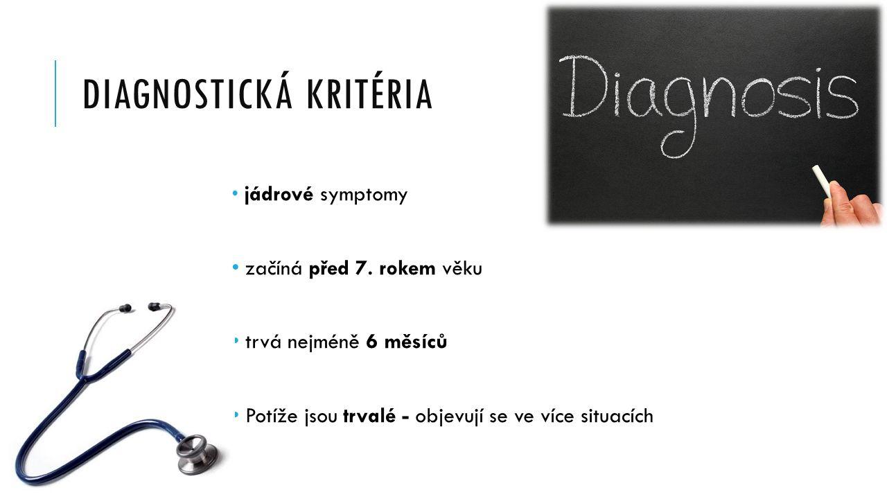 DIAGNOSTICKÁ KRITÉRIA jádrové symptomy začíná před 7.