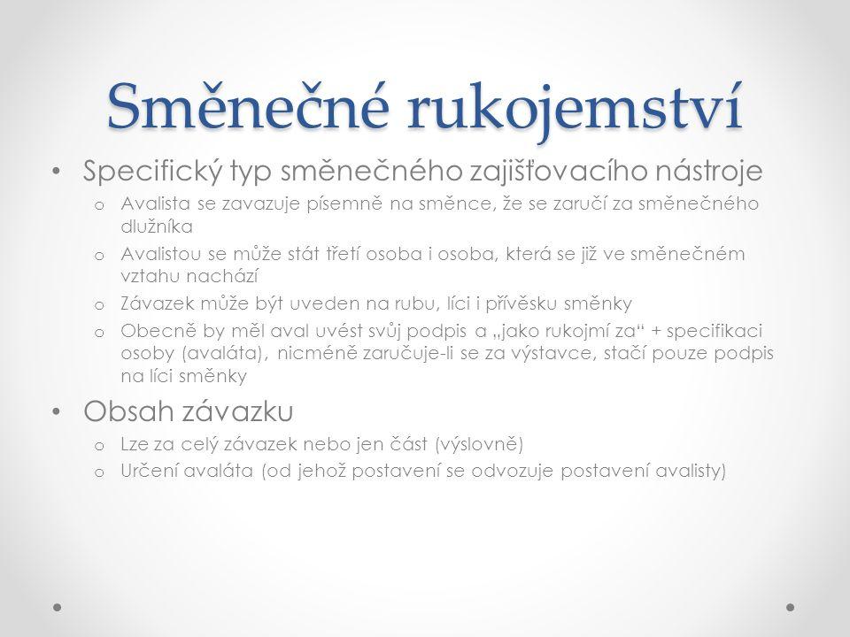 Směnečné rukojemství Postavení avalisty není, na rozdíl od ručitele, akcesorické!!.