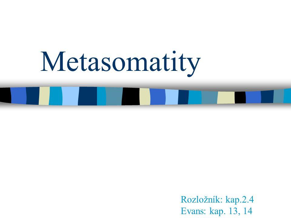 Metasomatity Rozložník: kap.2.4 Evans: kap. 13, 14