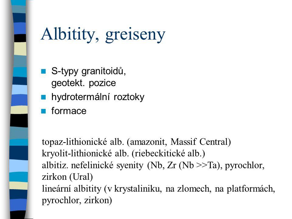 Albitity, greiseny S-typy granitoidů, geotekt.