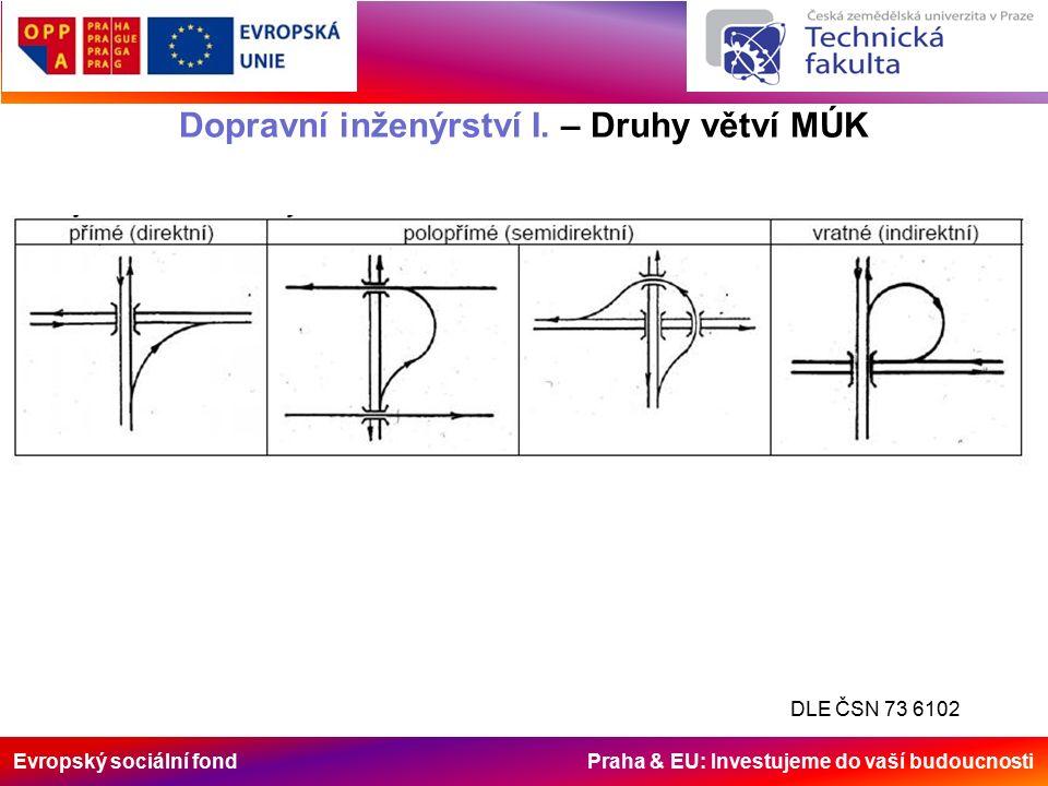 Evropský sociální fond Praha & EU: Investujeme do vaší budoucnosti Dopravní inženýrství I. – Druhy větví MÚK DLE ČSN 73 6102