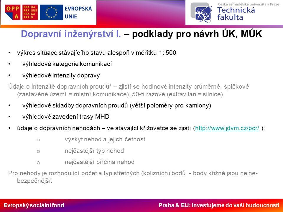 Evropský sociální fond Praha & EU: Investujeme do vaší budoucnosti Dopravní inženýrství I. – podklady pro návrh ÚK, MÚK výkres situace stávajícího sta