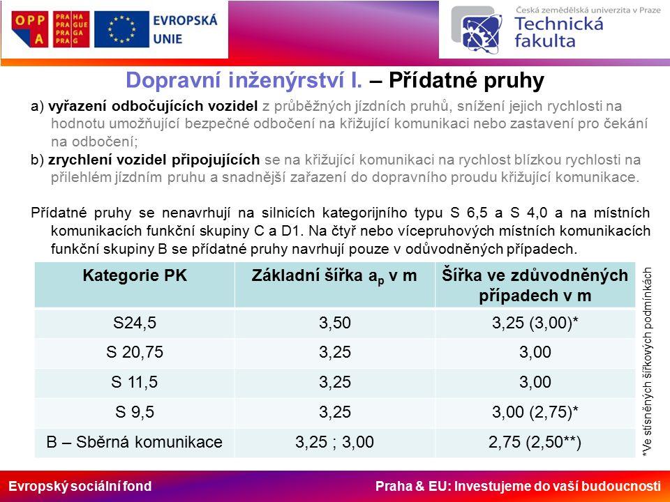 Evropský sociální fond Praha & EU: Investujeme do vaší budoucnosti Dopravní inženýrství I. – Přídatné pruhy a) vyřazení odbočujících vozidel z průběžn