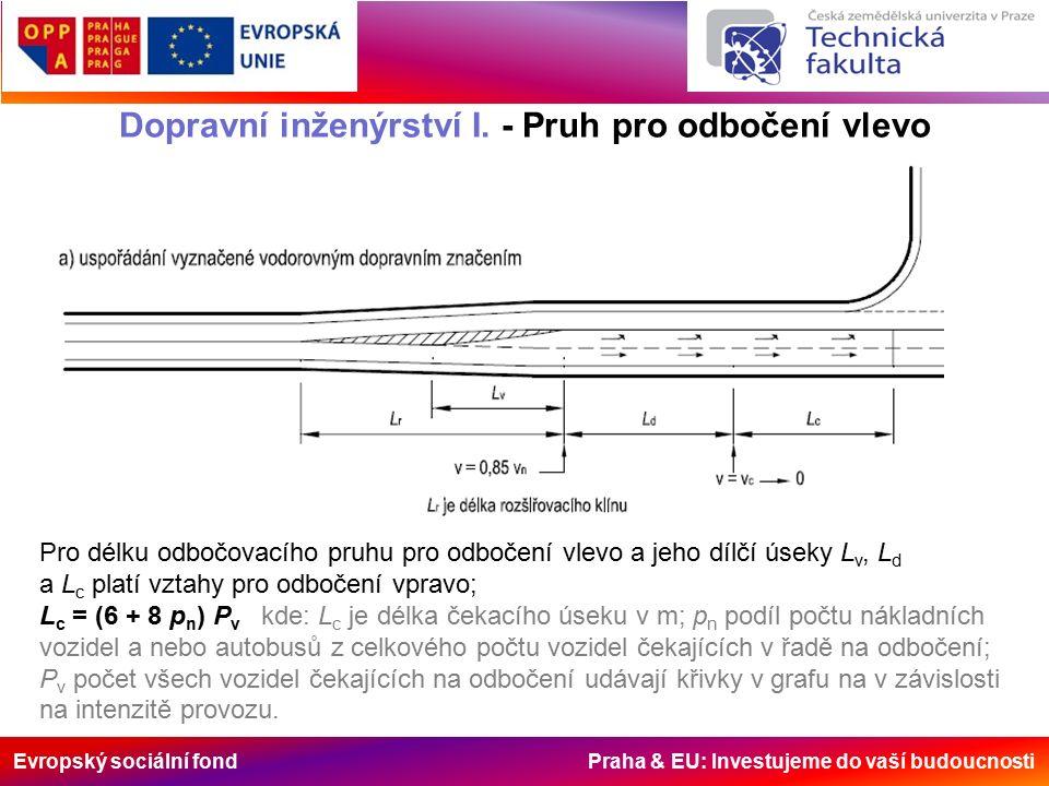 Evropský sociální fond Praha & EU: Investujeme do vaší budoucnosti Dopravní inženýrství I. - Pruh pro odbočení vlevo Pro délku odbočovacího pruhu pro