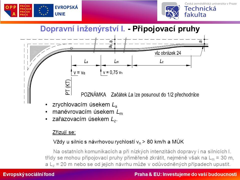 Evropský sociální fond Praha & EU: Investujeme do vaší budoucnosti Dopravní inženýrství I. - Připojovací pruhy zrychlovacím úsekem L a manévrovacím ús