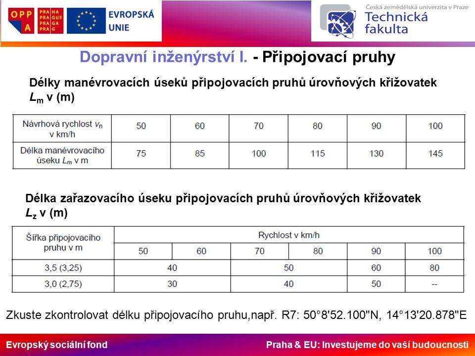 Evropský sociální fond Praha & EU: Investujeme do vaší budoucnosti Dopravní inženýrství I. - Připojovací pruhy Délky manévrovacích úseků připojovacích