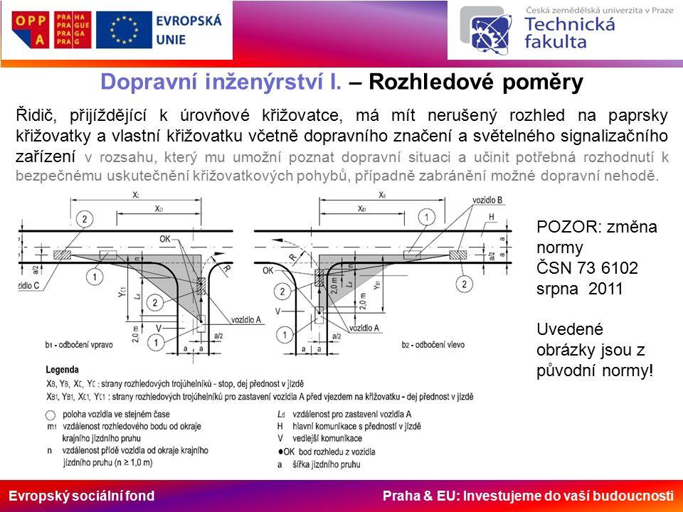 Evropský sociální fond Praha & EU: Investujeme do vaší budoucnosti Dopravní inženýrství I. – Rozhledové poměry Řidič, přijíždějící k úrovňové křižovat