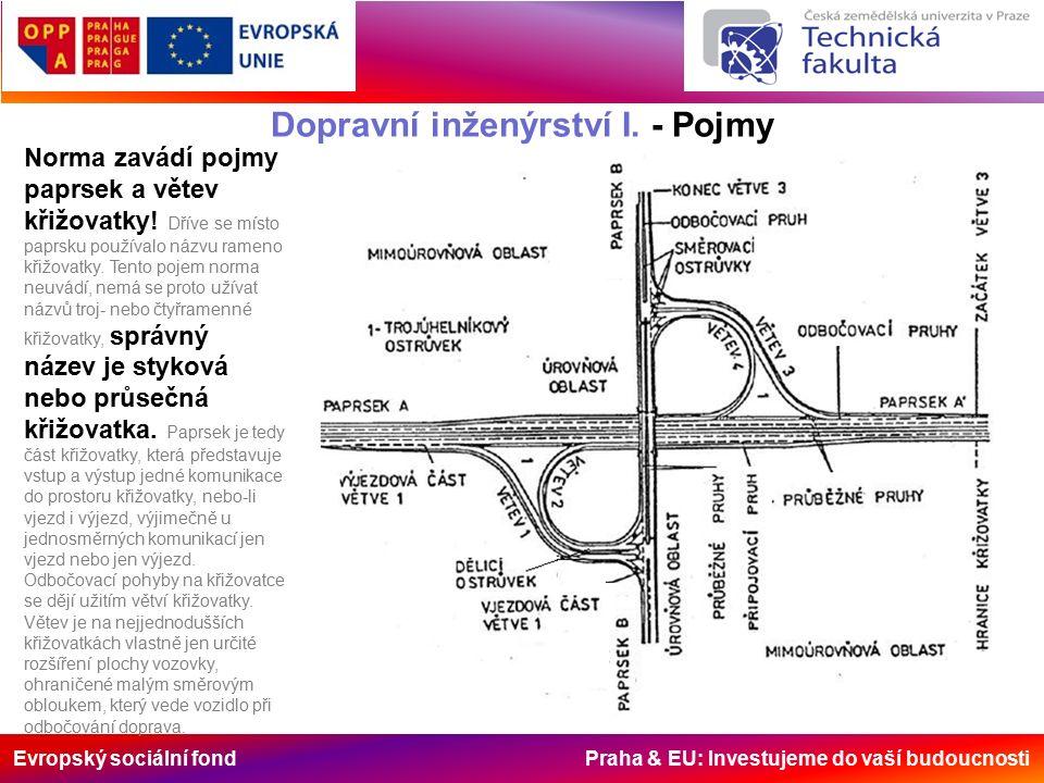 Evropský sociální fond Praha & EU: Investujeme do vaší budoucnosti Dopravní inženýrství I. - Pojmy Norma zavádí pojmy paprsek a větev křižovatky! Dřív