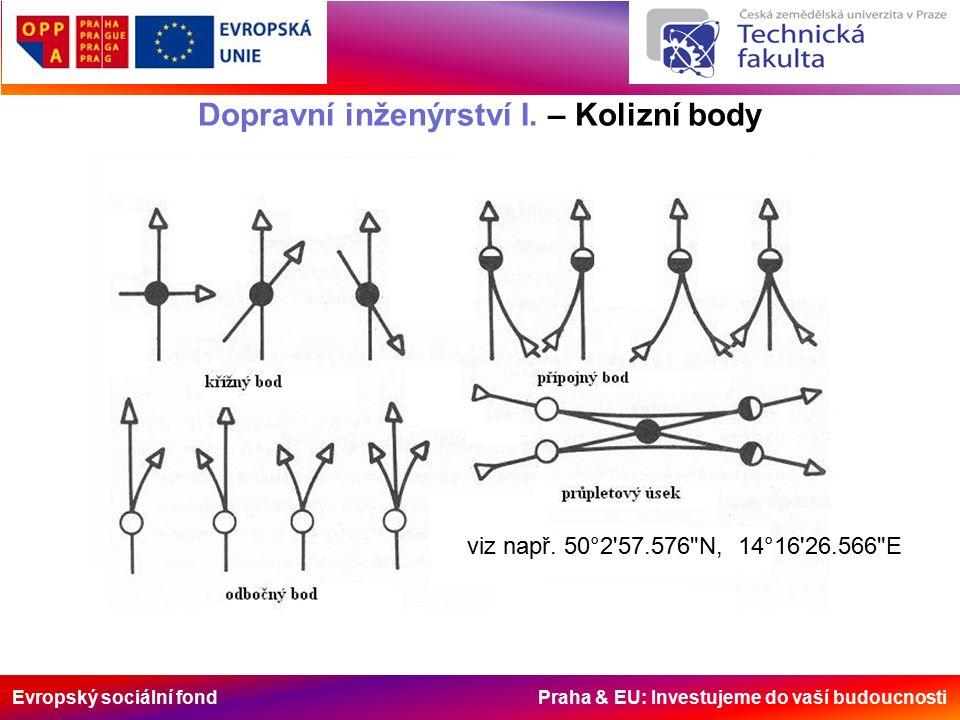 Evropský sociální fond Praha & EU: Investujeme do vaší budoucnosti Dopravní inženýrství I. – Kolizní body viz např. 50°2'57.576