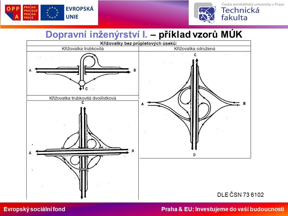 Evropský sociální fond Praha & EU: Investujeme do vaší budoucnosti Dopravní inženýrství I. – příklad vzorů MÚK DLE ČSN 73 6102