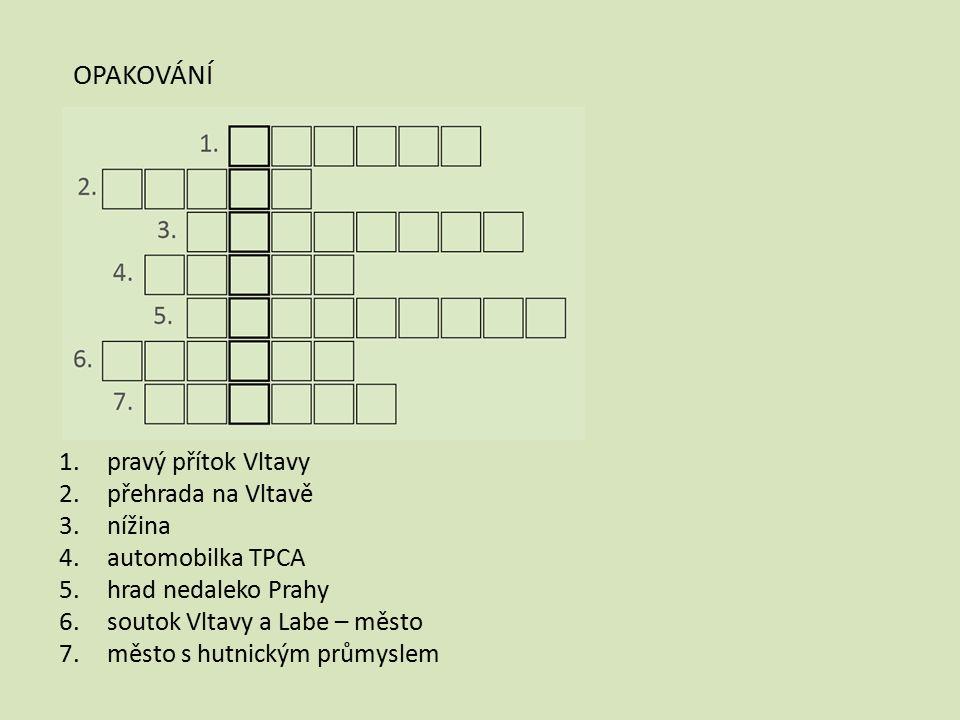 1.pravý přítok Vltavy 2.přehrada na Vltavě 3.nížina 4.automobilka TPCA 5.hrad nedaleko Prahy 6.soutok Vltavy a Labe – město 7.město s hutnickým průmys