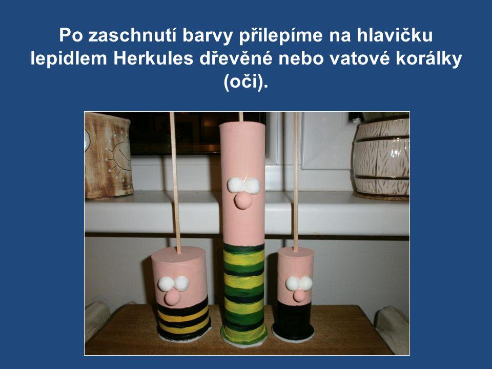 Po zaschnutí barvy přilepíme na hlavičku lepidlem Herkules dřevěné nebo vatové korálky (oči).