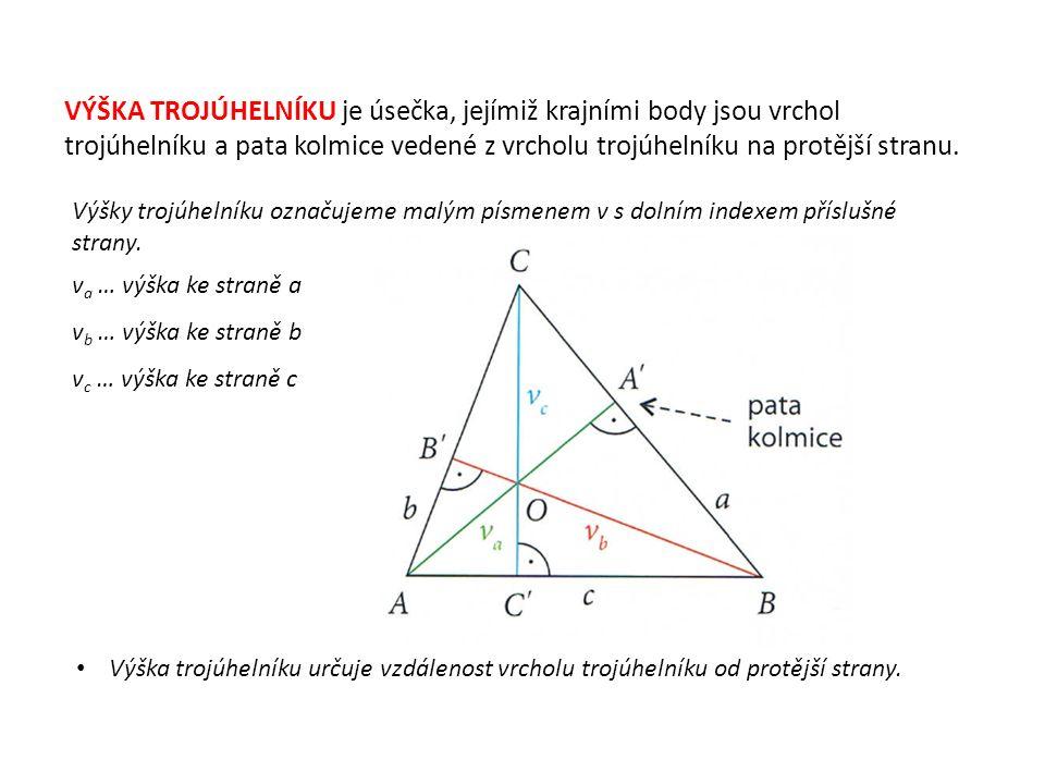 VÝŠKA TROJÚHELNÍKU je úsečka, jejímiž krajními body jsou vrchol trojúhelníku a pata kolmice vedené z vrcholu trojúhelníku na protější stranu.