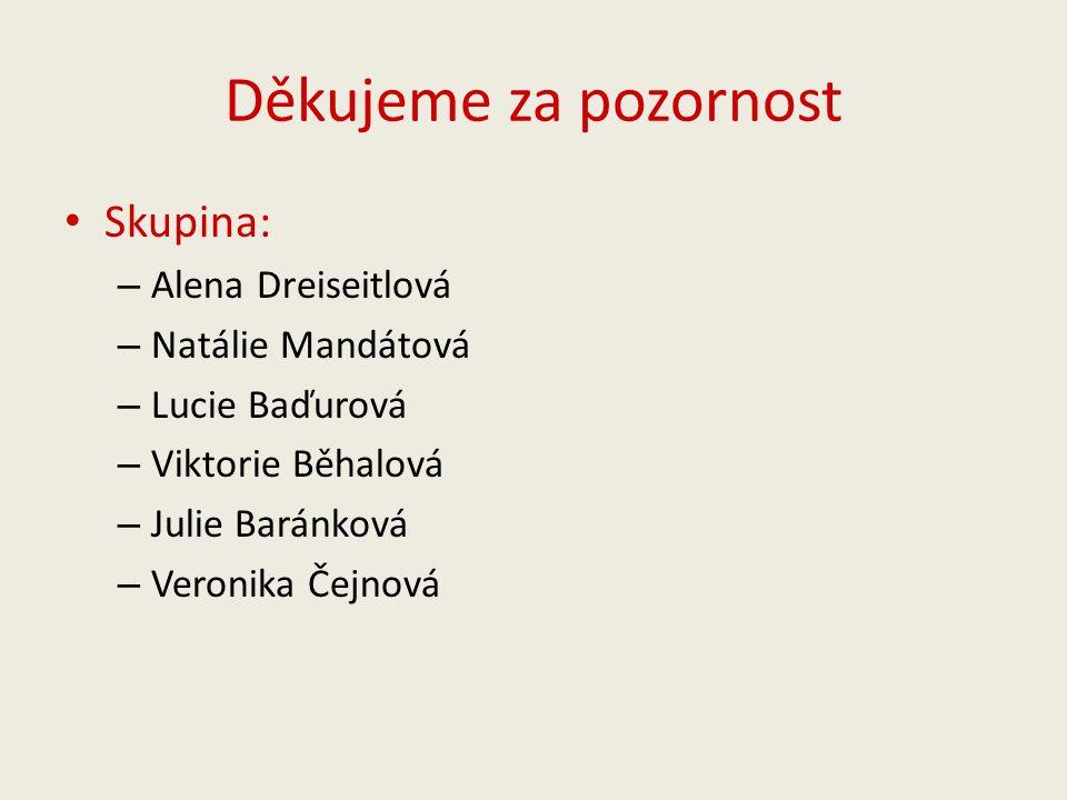Děkujeme za pozornost Skupina: – Alena Dreiseitlová – Natálie Mandátová – Lucie Baďurová – Viktorie Běhalová – Julie Baránková – Veronika Čejnová