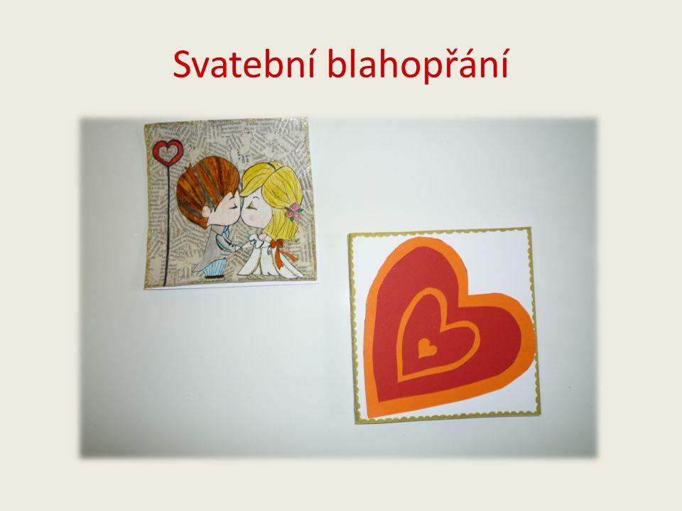 Svatební blahopřání č.1 Autor : Veronika Čejnová Použito: -tvrdý bílý papír -měkký bílý papír -noviny -barevné pastelky -barevné fixy