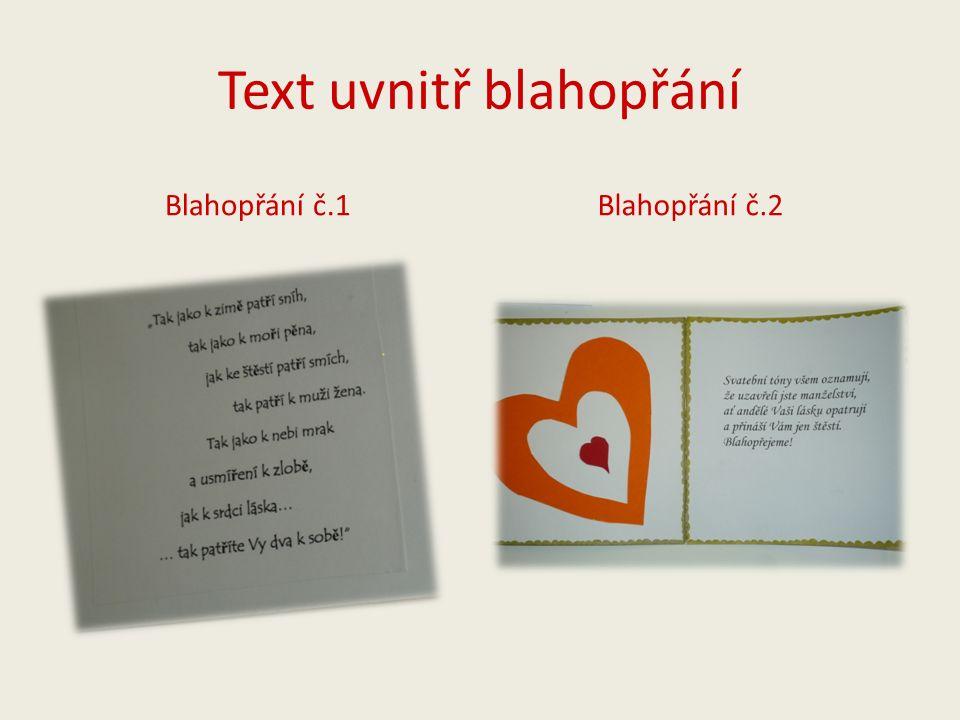 Text uvnitř blahopřání Blahopřání č.1 Blahopřání č.2