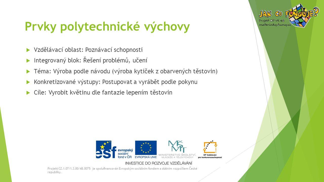 Prvky polytechnické výchovy  Vzdělávací oblast: Poznávací schopnosti  Integrovaný blok: Řešení problémů, učení  Téma: Výroba podle návodu (výroba kytiček z obarvených těstovin)  Konkretizované výstupy: Postupovat a vyrábět podle pokynu  Cíle: Vyrobit květinu dle fantazie lepením těstovin Projekt CZ.1.07/1.3.00/48.0075 je spolufinancován Evropským sociálním fondem a státním rozpočtem České republiky.