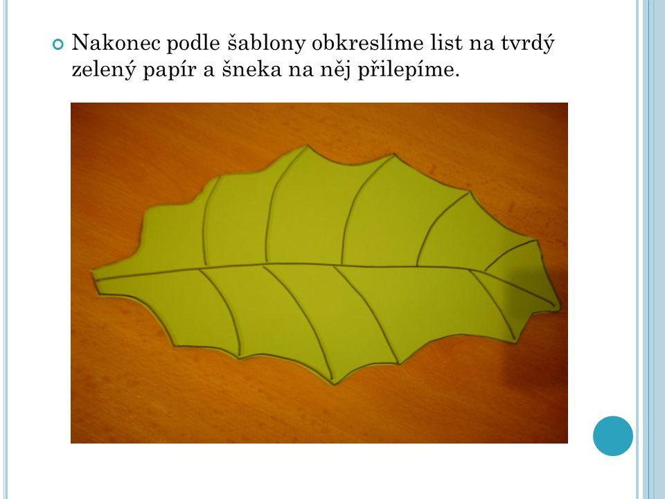 Nakonec podle šablony obkreslíme list na tvrdý zelený papír a šneka na něj přilepíme.