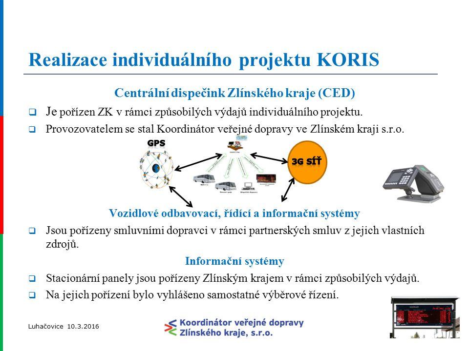 Realizace individuálního projektu KORIS Centrální dispečink Zlínského kraje (CED)  Je pořízen ZK v rámci způsobilých výdajů individuálního projektu.