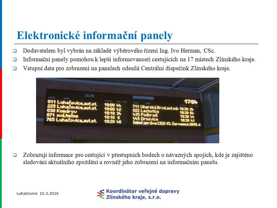 Přestupní body, jejich vlastníci/provozovatelé a počty umístěných panelů Luhačovice 10.3.2016