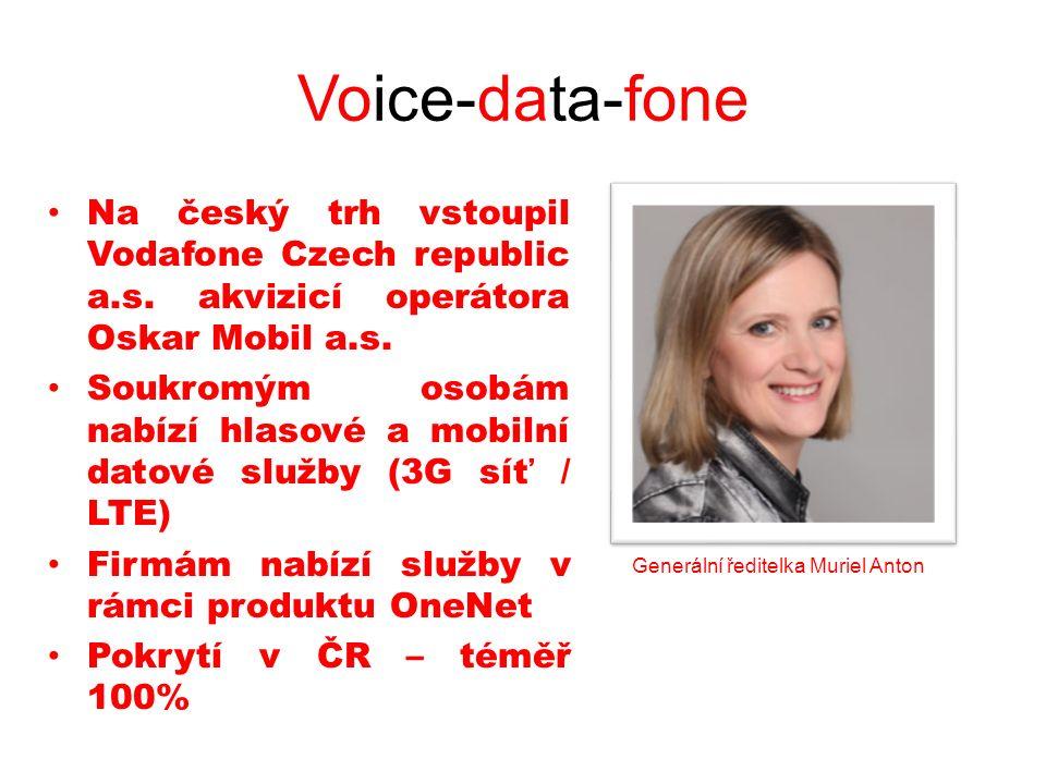 Voice-data-fone Na český trh vstoupil Vodafone Czech republic a.s. akvizicí operátora Oskar Mobil a.s. Soukromým osobám nabízí hlasové a mobilní datov