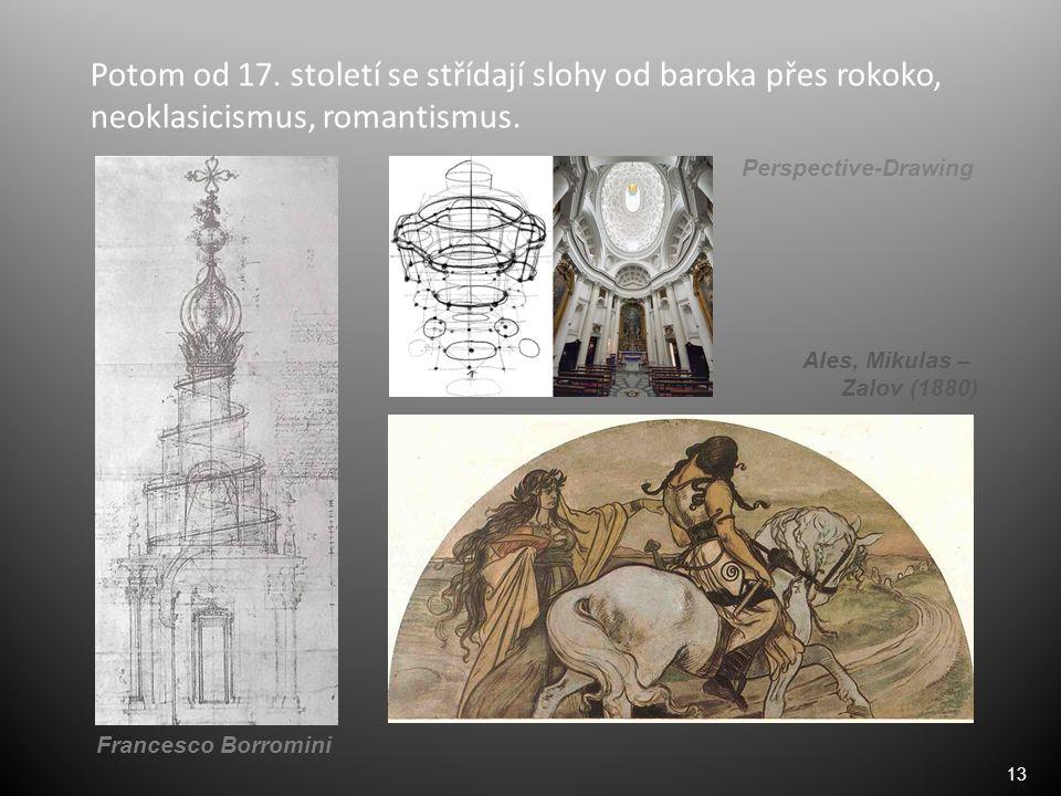 13 Potom od 17. století se střídají slohy od baroka přes rokoko, neoklasicismus, romantismus. Francesco Borromini Ales, Mikulas – Zalov (1880) Perspec