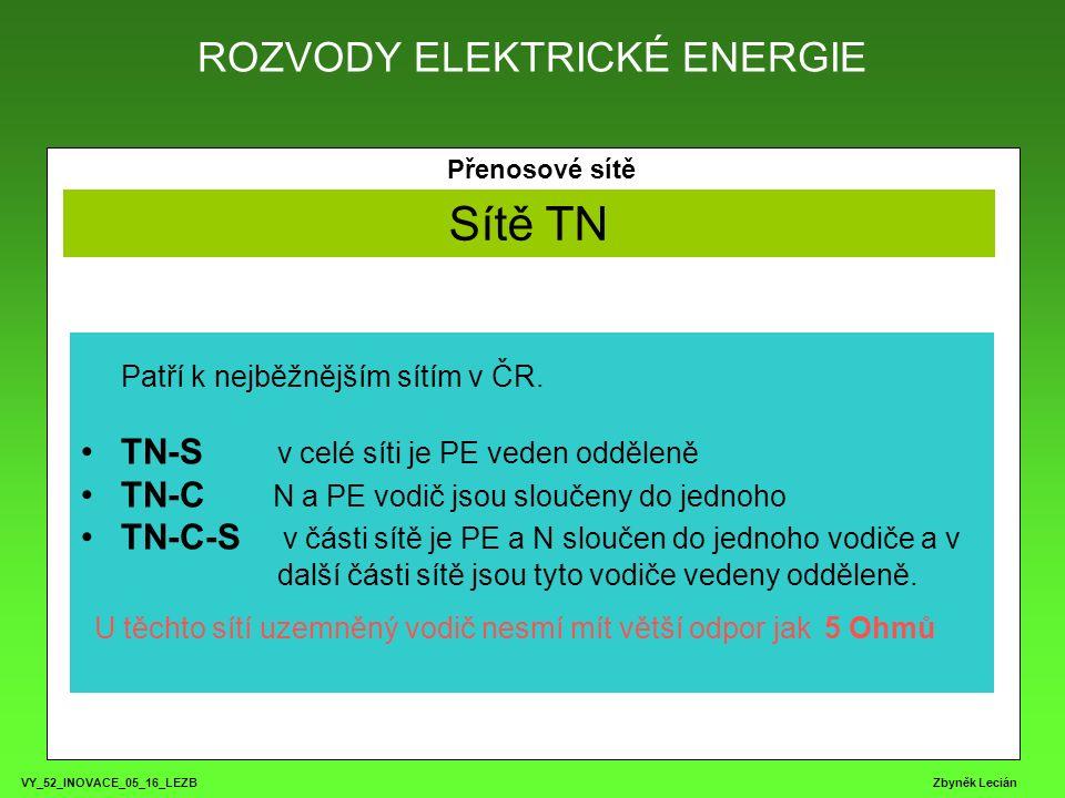 ROZVODY ELEKTRICKÉ ENERGIE VY_52_INOVACE_05_16_LEZB Zbyněk Lecián Přenosové sítě Sítě TN Patří k nejběžnějším sítím v ČR.