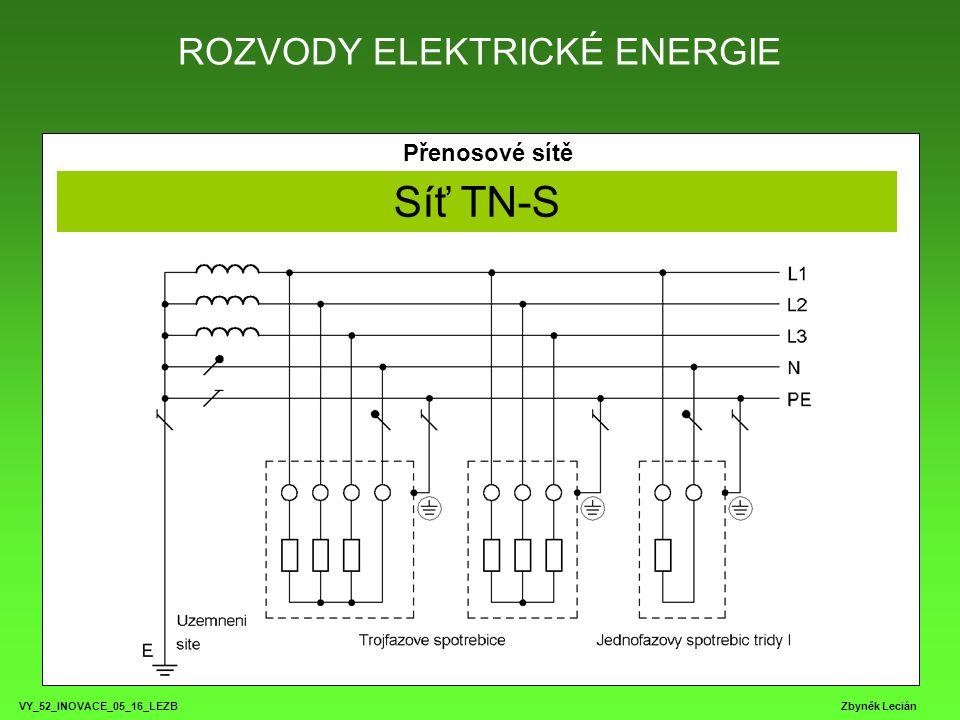 ROZVODY ELEKTRICKÉ ENERGIE VY_52_INOVACE_05_16_LEZB Zbyněk Lecián Přenosové sítě Síť TN-S