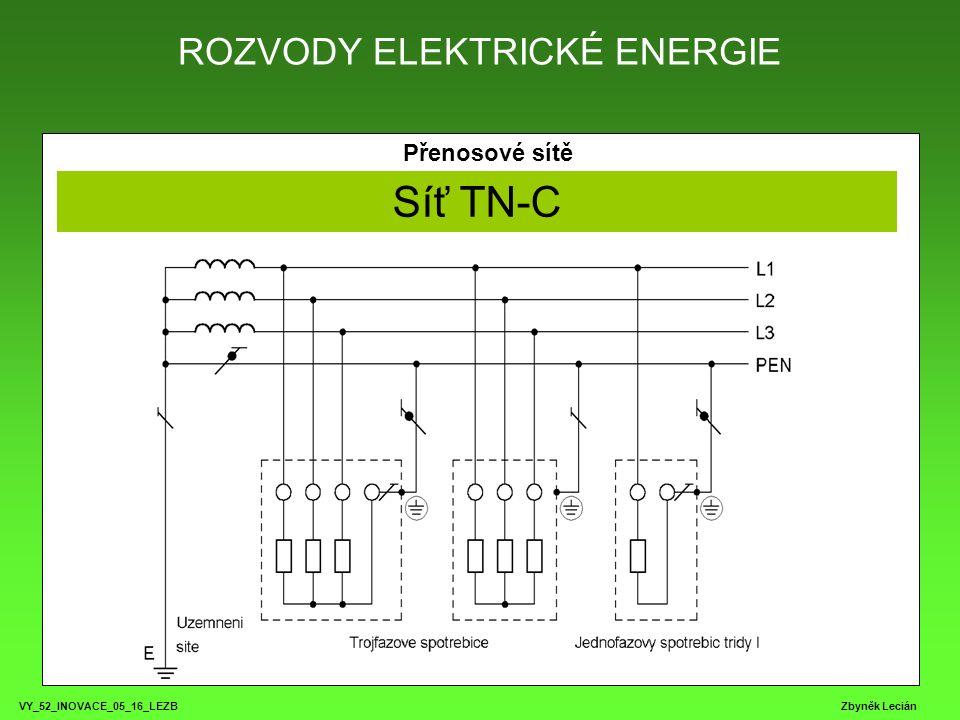 ROZVODY ELEKTRICKÉ ENERGIE VY_52_INOVACE_05_16_LEZB Zbyněk Lecián Přenosové sítě Síť TN-C