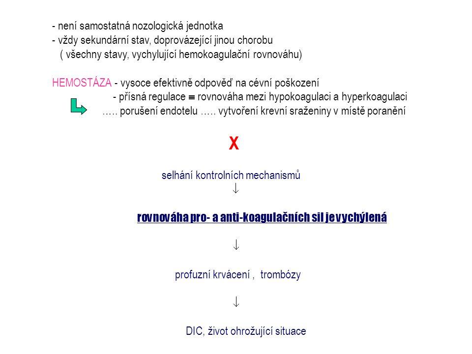 - není samostatná nozologická jednotka - vždy sekundární stav, doprovázející jinou chorobu ( všechny stavy, vychylující hemokoagulační rovnováhu) HEMO