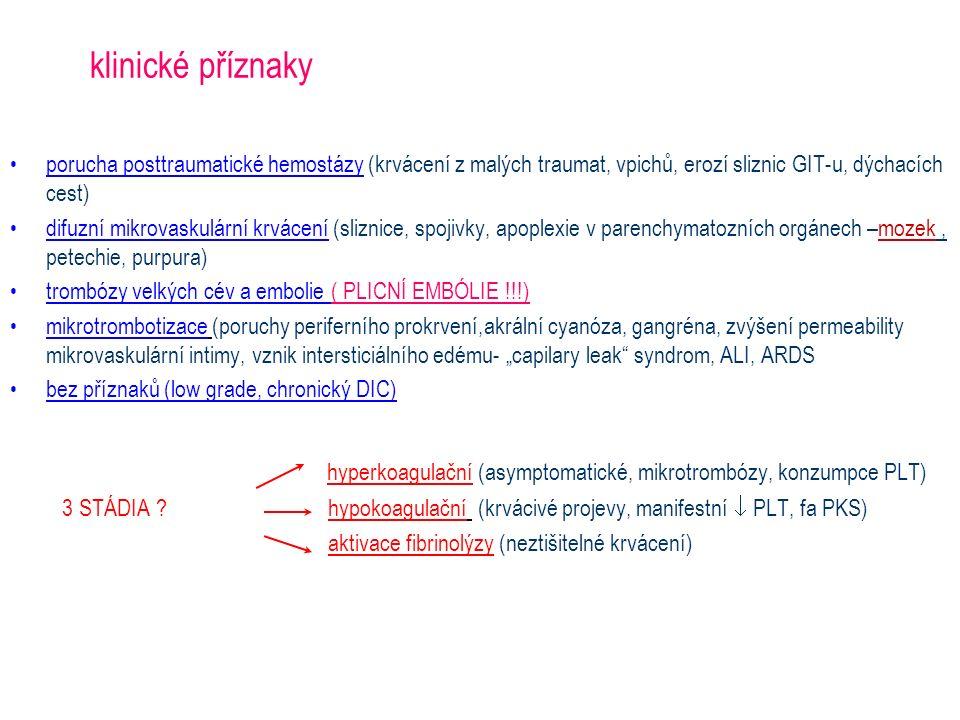 klinické příznaky porucha posttraumatické hemostázy (krvácení z malých traumat, vpichů, erozí sliznic GIT-u, dýchacích cest) difuzní mikrovaskulární k