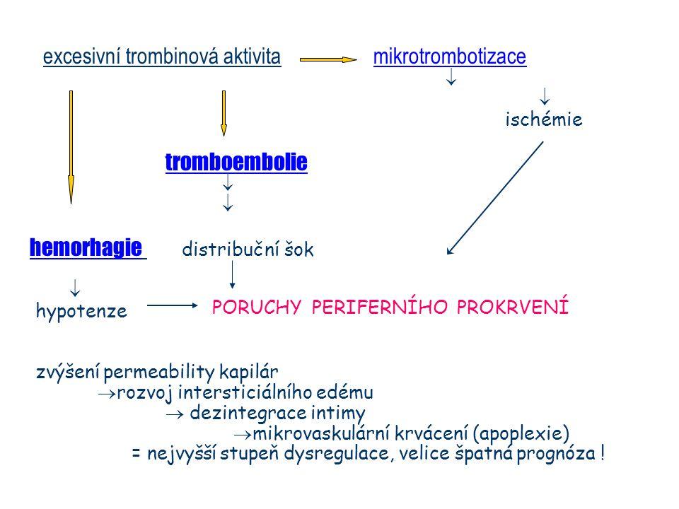 excesivní trombinová aktivita mikrotrombotizace  ischémie tromboembolie  hemorhagie distribuční šok  hypotenze zvýšení permeability kapilár  rozvo