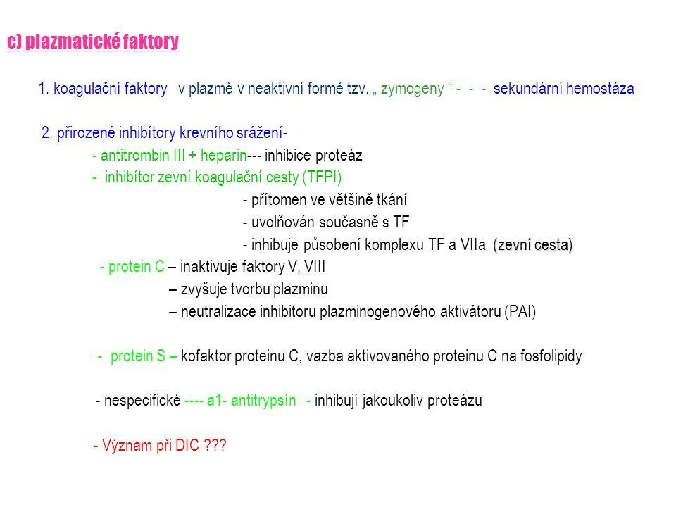 """c) plazmatické faktory 1. koagulační faktory v plazmě v neaktivní formě tzv. """" zymogeny """" - - - sekundární hemostáza 2. přirozené inhibítory krevního"""