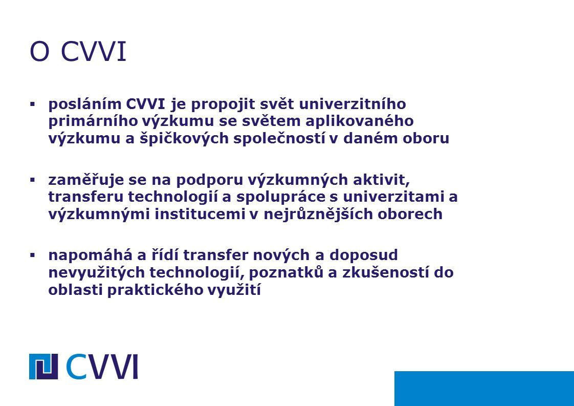 O CVVI  posláním CVVI je propojit svět univerzitního primárního výzkumu se světem aplikovaného výzkumu a špičkových společností v daném oboru  zaměřuje se na podporu výzkumných aktivit, transferu technologií a spolupráce s univerzitami a výzkumnými institucemi v nejrůznějších oborech  napomáhá a řídí transfer nových a doposud nevyužitých technologií, poznatků a zkušeností do oblasti praktického využití