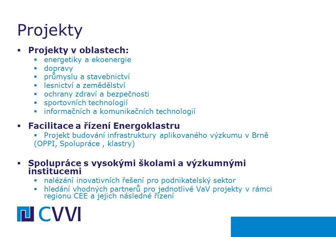  Projekty v oblastech:  energetiky a ekoenergie  dopravy  průmyslu a stavebnictví  lesnictví a zemědělství  ochrany zdraví a bezpečnosti  sportovních technologií  informačních a komunikačních technologií  Facilitace a řízení Energoklastru  Projekt budování infrastruktury aplikovaného výzkumu v Brně (OPPI, Spolupráce, klastry)  Spolupráce s vysokými školami a výzkumnými institucemi  nalézání inovativních řešení pro podnikatelský sektor  hledání vhodných partnerů pro jednotlivé VaV projekty v rámci regionu CEE a jejich následné řízení Projekty