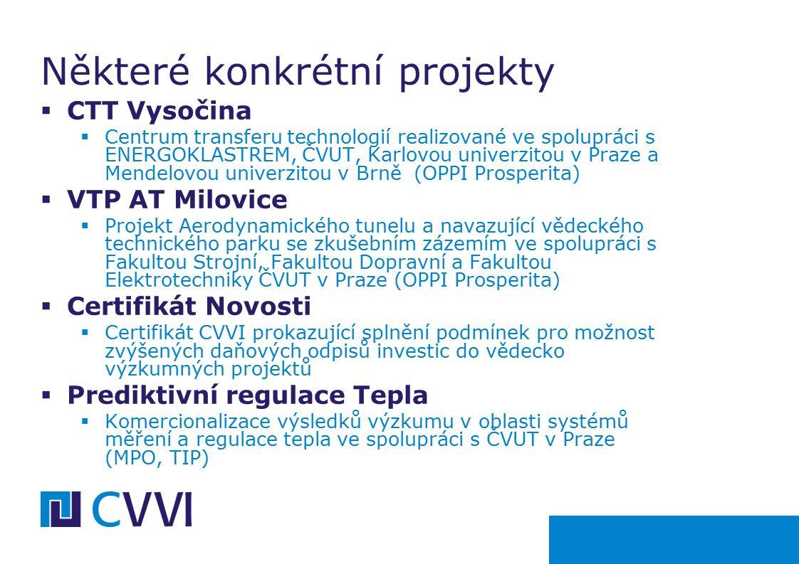  CTT Vysočina  Centrum transferu technologií realizované ve spolupráci s ENERGOKLASTREM, ČVUT, Karlovou univerzitou v Praze a Mendelovou univerzitou