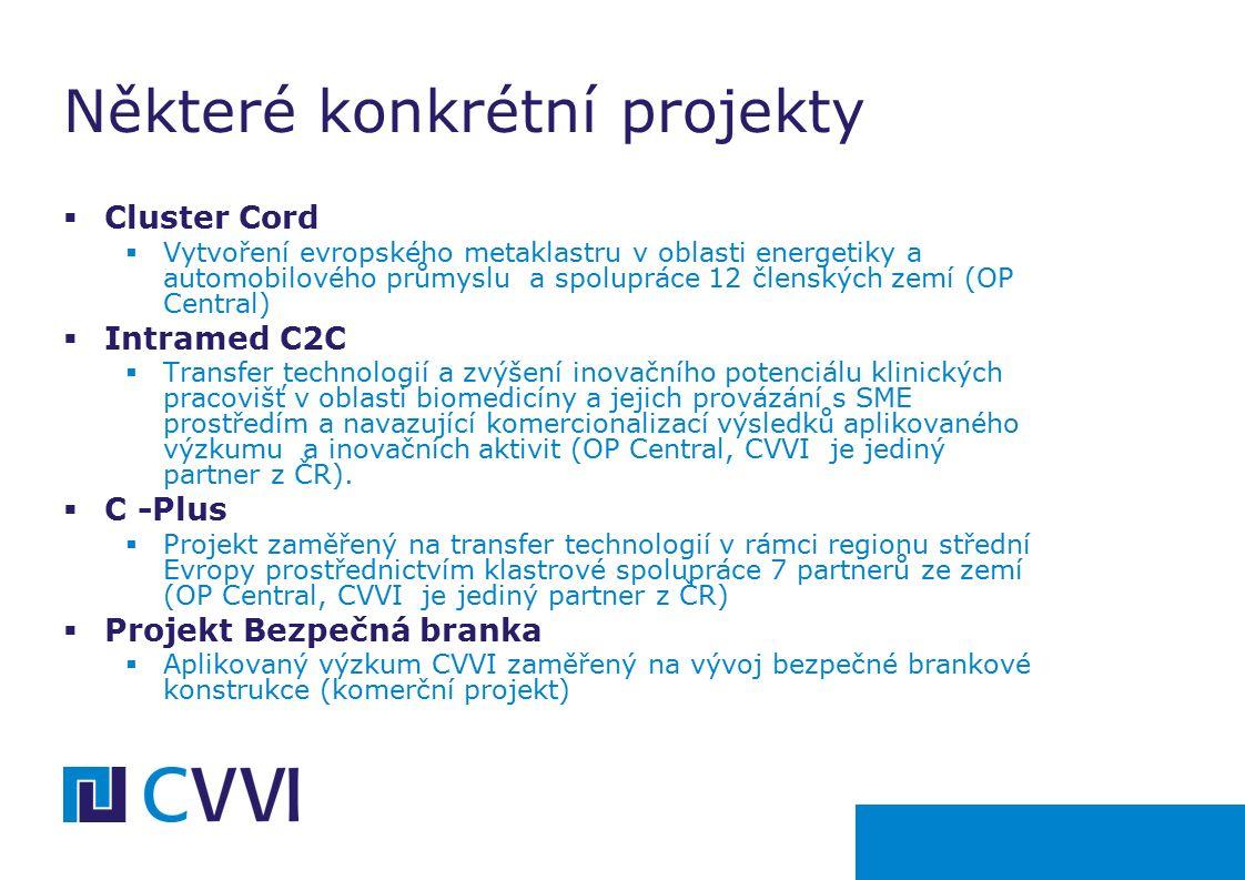  Cluster Cord  Vytvoření evropského metaklastru v oblasti energetiky a automobilového průmyslu a spolupráce 12 členských zemí (OP Central)  Intramed C2C  Transfer technologií a zvýšení inovačního potenciálu klinických pracovišť v oblasti biomedicíny a jejich provázání s SME prostředím a navazující komercionalizací výsledků aplikovaného výzkumu a inovačních aktivit (OP Central, CVVI je jediný partner z ČR).