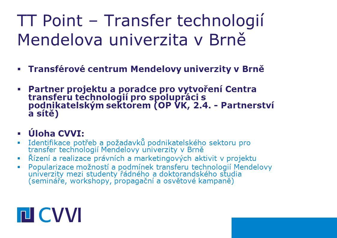  Transférové centrum Mendelovy univerzity v Brně  Partner projektu a poradce pro vytvoření Centra transferu technologií pro spolupráci s podnikatelským sektorem (OP VK, 2.4.
