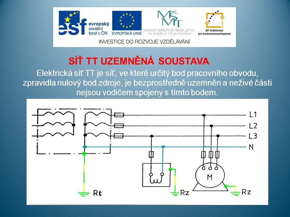 SÍŤ TT UZEMNĚNÁ SOUSTAVA Elektrická síť TT je síť, ve které určitý bod pracovního obvodu, zpravidla nulový bod zdroje, je bezprostředně uzemněn a neživé části nejsou vodičem spojeny s tímto bodem.