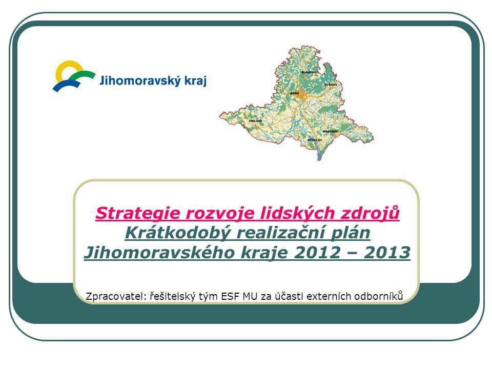 Strategie rozvoje lidských zdrojů Krátkodobý realizační plán Jihomoravského kraje 2012 – 2013 Zpracovatel: řešitelský tým ESF MU za účasti externích odborníků