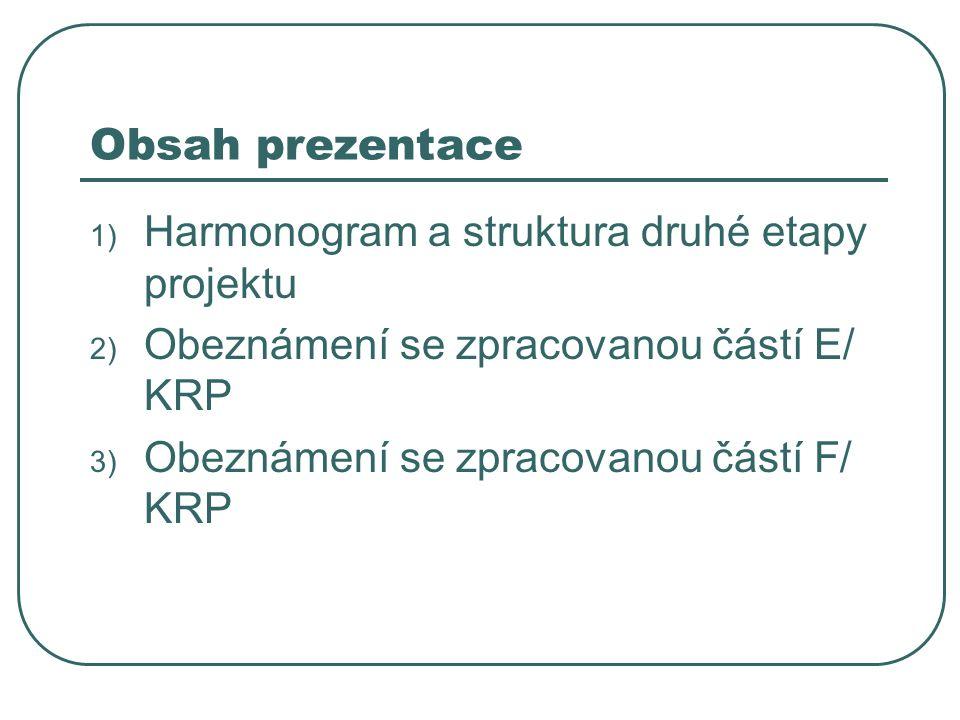 Struktura (dle zadání) A/ Úvod B/ Analýza C/ SWOT analýza D/ Územní disparity RLZ E/ Priority, opatření a aktivity F/ Finanční plán do roku 2013 G/ Realizace naplňování a řízení KRP H/ Vyhodnocování a monitoring (naplňování a řízení KRP) I/ Komunikační akční plán KRP J/ Stručná verze KRP Poznámky: A, B, C, D, E, F = druhá etapa zpracování